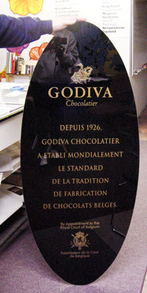 Glass Sign for Godiva Chocolates